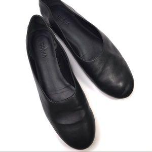 VINCE Maxwell Flats Black Leather US 8M EU 38